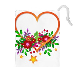 Heart Flowers Sign Drawstring Pouches (Extra Large)