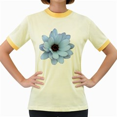 Daisy Flower Floral Plant Summer Women s Fitted Ringer T Shirts