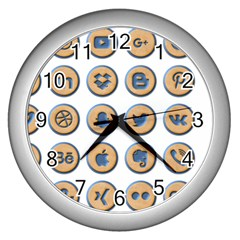 Social Media Icon Icons Social Wall Clocks (silver)