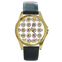 Social Media Icon Icons Social Round Gold Metal Watch