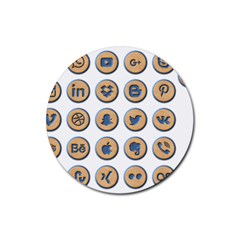 Social Media Icon Icons Social Rubber Round Coaster (4 Pack)