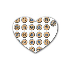 Social Media Icon Icons Social Rubber Coaster (heart)