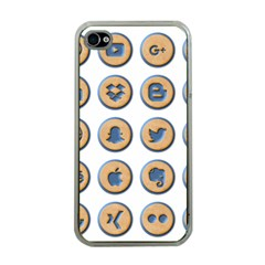 Social Media Icon Icons Social Apple iPhone 4 Case (Clear)