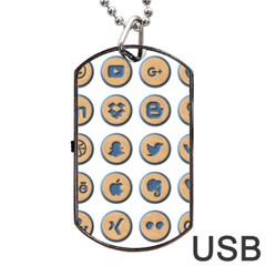 Social Media Icon Icons Social Dog Tag USB Flash (One Side)