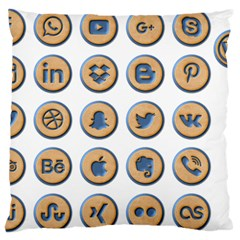 Social Media Icon Icons Social Large Cushion Case (one Side)