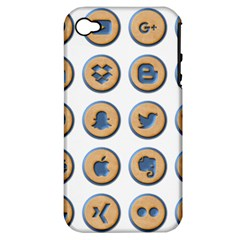 Social Media Icon Icons Social Apple Iphone 4/4s Hardshell Case (pc+silicone)