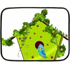 Bluebird Bird Birdhouse Avian Double Sided Fleece Blanket (mini)