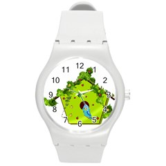 Bluebird Bird Birdhouse Avian Round Plastic Sport Watch (m)