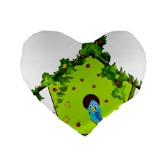 Bluebird Bird Birdhouse Avian Standard 16  Premium Heart Shape Cushions