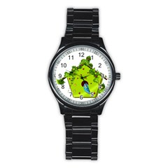 Bluebird Bird Birdhouse Avian Stainless Steel Round Watch