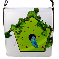 Bluebird Bird Birdhouse Avian Flap Messenger Bag (S)