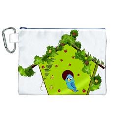 Bluebird Bird Birdhouse Avian Canvas Cosmetic Bag (xl)