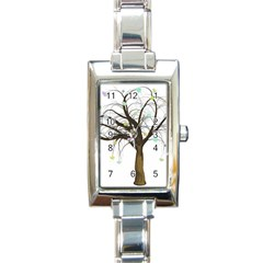 Tree Fantasy Magic Hearts Flowers Rectangle Italian Charm Watch