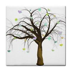 Tree Fantasy Magic Hearts Flowers Tile Coasters