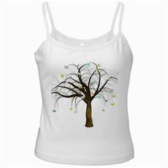 Tree Fantasy Magic Hearts Flowers White Spaghetti Tank