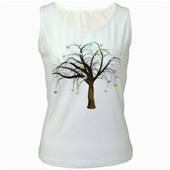Tree Fantasy Magic Hearts Flowers Women s White Tank Top