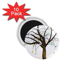 Tree Fantasy Magic Hearts Flowers 1 75  Magnets (10 Pack)