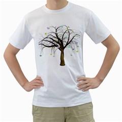 Tree Fantasy Magic Hearts Flowers Men s T Shirt (white) (two Sided)