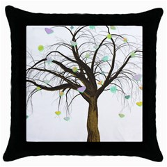 Tree Fantasy Magic Hearts Flowers Throw Pillow Case (Black)