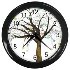 Tree Fantasy Magic Hearts Flowers Wall Clocks (Black)