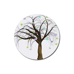 Tree Fantasy Magic Hearts Flowers Rubber Round Coaster (4 pack)