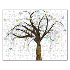 Tree Fantasy Magic Hearts Flowers Rectangular Jigsaw Puzzl