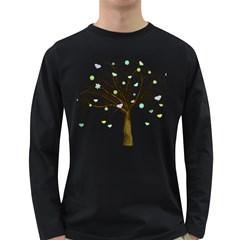 Tree Fantasy Magic Hearts Flowers Long Sleeve Dark T Shirts