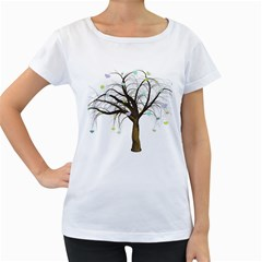 Tree Fantasy Magic Hearts Flowers Women s Loose-Fit T-Shirt (White)