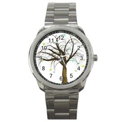 Tree Fantasy Magic Hearts Flowers Sport Metal Watch