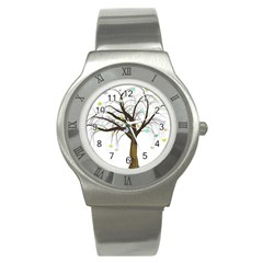 Tree Fantasy Magic Hearts Flowers Stainless Steel Watch