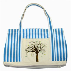 Tree Fantasy Magic Hearts Flowers Striped Blue Tote Bag