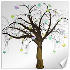 Tree Fantasy Magic Hearts Flowers Canvas 16  X 16