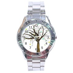 Tree Fantasy Magic Hearts Flowers Stainless Steel Analogue Watch
