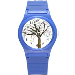 Tree Fantasy Magic Hearts Flowers Round Plastic Sport Watch (s)