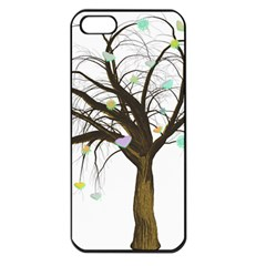 Tree Fantasy Magic Hearts Flowers Apple Iphone 5 Seamless Case (black)
