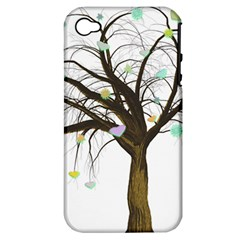 Tree Fantasy Magic Hearts Flowers Apple iPhone 4/4S Hardshell Case (PC+Silicone)