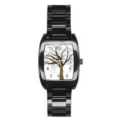 Tree Fantasy Magic Hearts Flowers Stainless Steel Barrel Watch