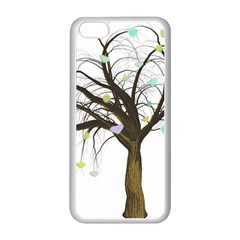 Tree Fantasy Magic Hearts Flowers Apple Iphone 5c Seamless Case (white)