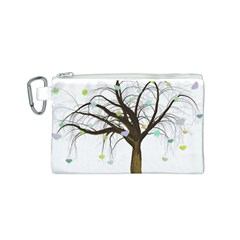 Tree Fantasy Magic Hearts Flowers Canvas Cosmetic Bag (S)