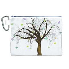 Tree Fantasy Magic Hearts Flowers Canvas Cosmetic Bag (xl)