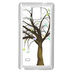 Tree Fantasy Magic Hearts Flowers Samsung Galaxy Note 4 Case (White)