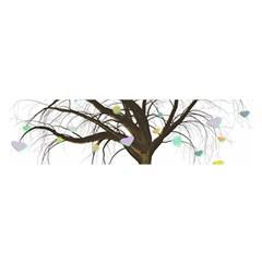 Tree Fantasy Magic Hearts Flowers Satin Scarf (oblong)