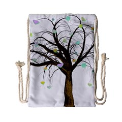 Tree Fantasy Magic Hearts Flowers Drawstring Bag (small)
