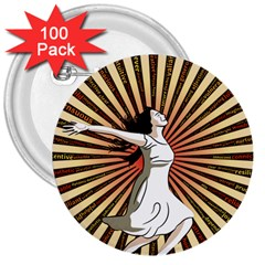 Woman Power Glory Affirmation 3  Buttons (100 pack)