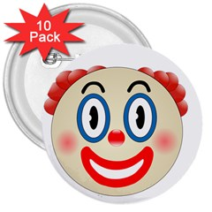 Clown Funny Make Up Whatsapp 3  Buttons (10 pack)