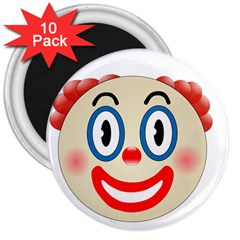 Clown Funny Make Up Whatsapp 3  Magnets (10 Pack)