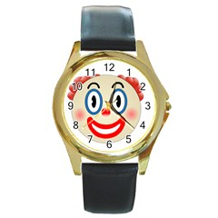 Clown Funny Make Up Whatsapp Round Gold Metal Watch