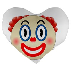 Clown Funny Make Up Whatsapp Large 19  Premium Flano Heart Shape Cushions