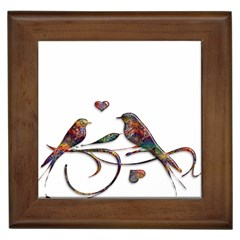 Birds Abstract Exotic Colorful Framed Tiles