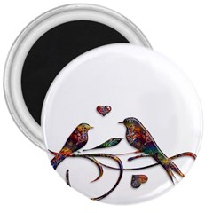 Birds Abstract Exotic Colorful 3  Magnets